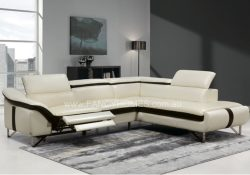 Fancy Homes Vanni recliner chaise leather sofa features electrical recliner and adjustable headrests