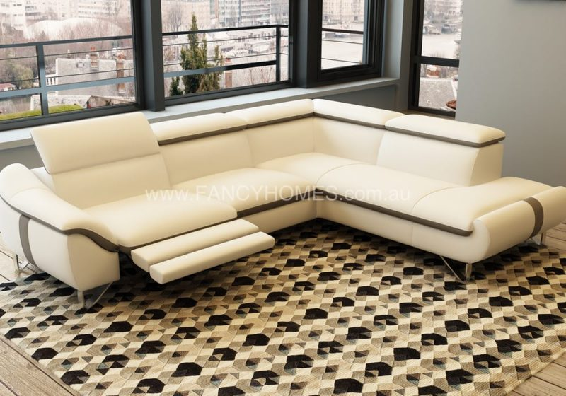 Fancy Homes Vanni recliner chaise leather sofa in cream and black leather