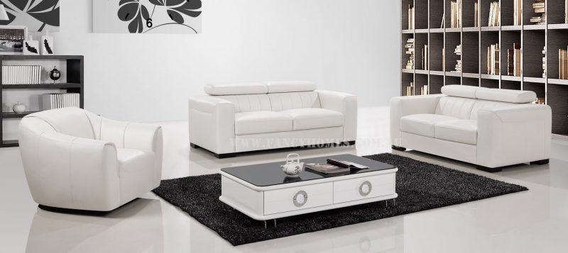 Fancy Homes Velia lounges suites leather sofa in pure white leather