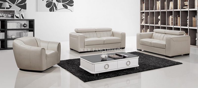 Fancy Homes Velia lounges suites leather sofa in off-white leather