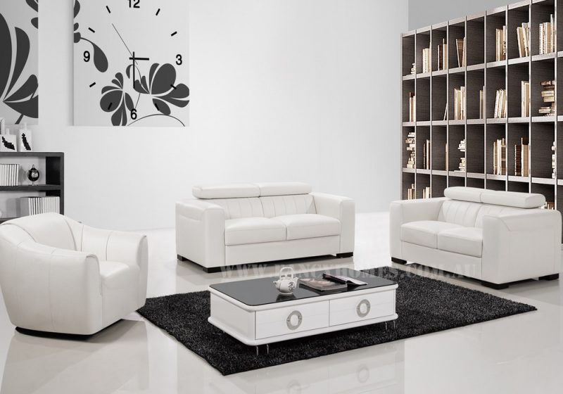 Fancy Homes Velia lounges suites leather sofa in pure white leather featuring a sleek design
