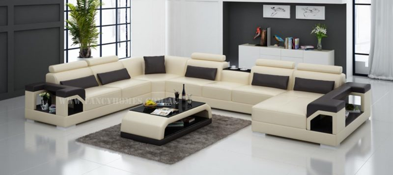 Fancy Homes Vera modular leather sofa in beige and brown leather