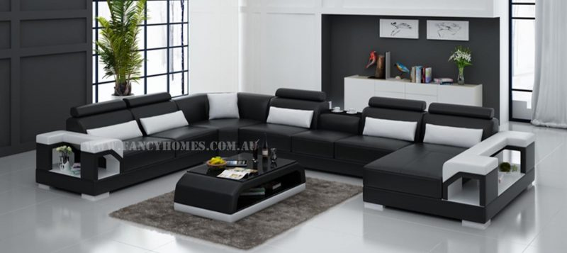 Fancy Homes Vera modular leather sofa in black and white leather