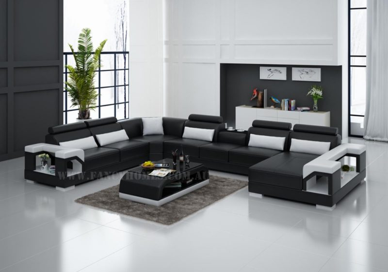 Fancy Homes Vera modular leather sofa in black and white leather features adjustable headrests, storage armrests and in-built cupholder