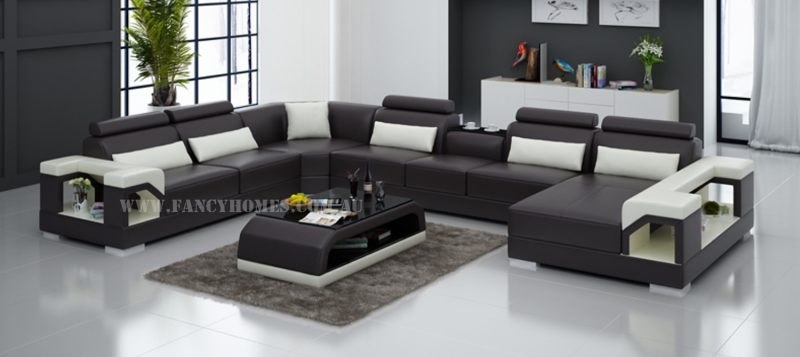 Fancy Homes Vera modular leather sofa in brown and white leather