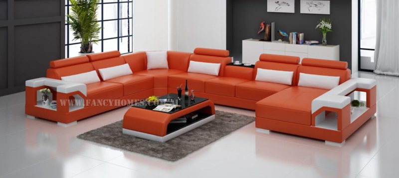 Fancy Homes Vera modular leather sofa in orange and white leather