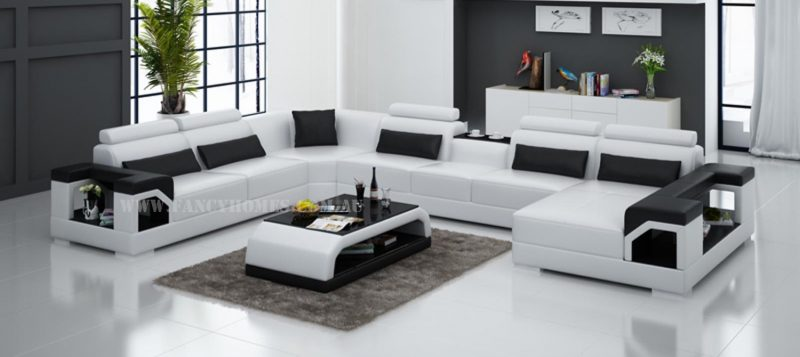 Fancy Homes Vera modular leather sofa in white and black leather