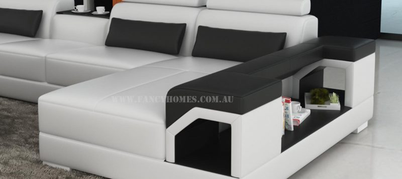 Fancy Homes Vera modular leather sofa features storage armrests