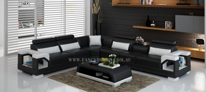 Fancy Homes Vera-B corner leather sofa in black and white leather
