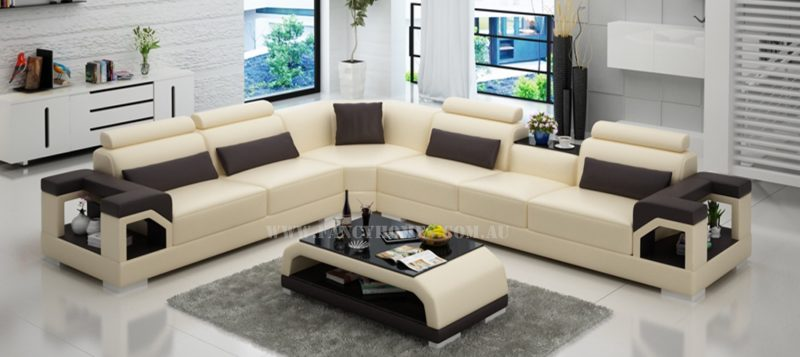 Fancy Homes Vera-B corner leather sofa in beige and brown leather