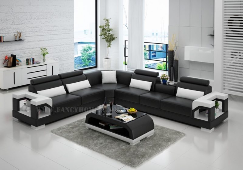 Fancy Homes Vera-B corner leather sofa in black and white leather features adjustable headrests, in-built cupholder and storage armrests