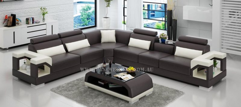 Fancy Homes Vera-B corner leather sofa in brown and white