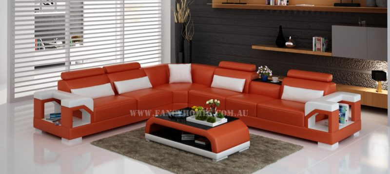 Fancy Homes Vera-B corner leather sofa in orange and white leather