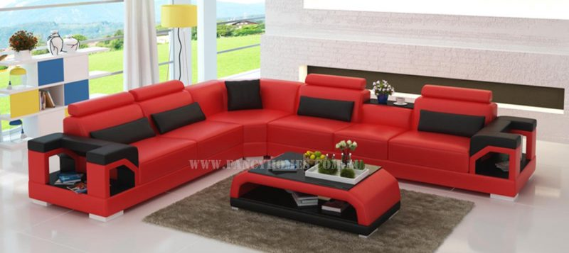 Fancy Homes Vera-B corner leather sofa in red and black leather