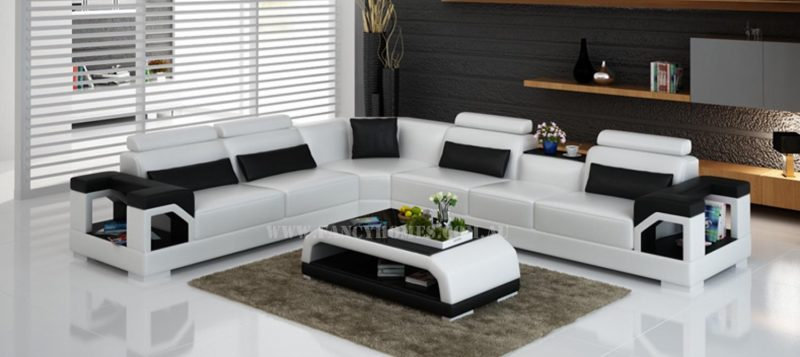 Fancy Homes Vera-B corner leather sofa in white and black leather