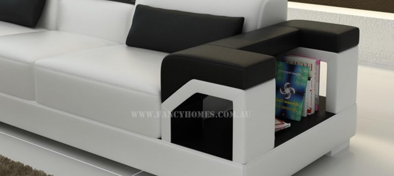 Fancy Homes Vera-B corner leather sofa features storage armrests