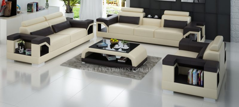 Fancy Homes Vera-D lounges suites leather sofa in beige and brown leather