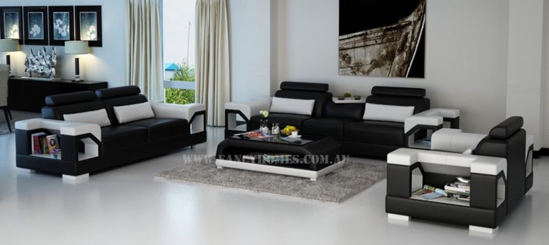 Fancy Homes Vera-D lounges suites leather sofa in black and white leather