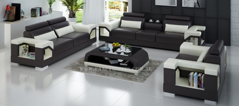 Fancy Homes Vera-D lounges suites leather sofa in brown and white leather