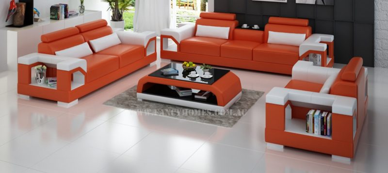 Fancy Homes Vera-D lounges suites leather sofa in orange and white leather