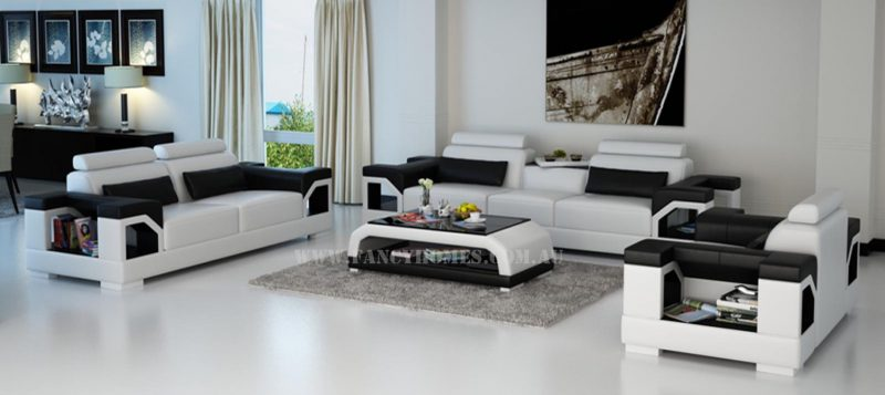 Fancy Homes Vera-D lounges suites leather sofa in white and black leather featuring storage armrests, adjustable headrests and in-built cupholder
