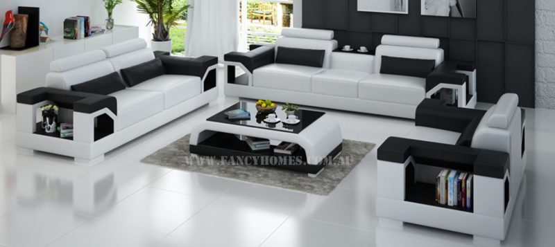 Fancy Homes Vera-D lounges suites leather sofa in white and black leather