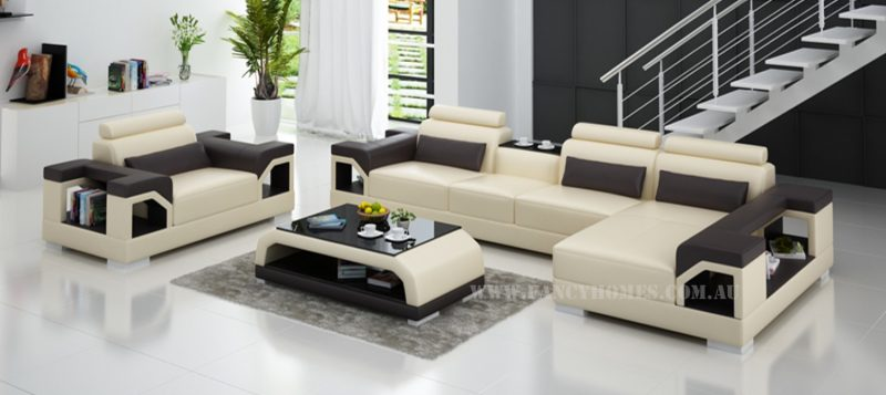 Fancy Homes Vera-E chaise leather sofa in beige and brown leather