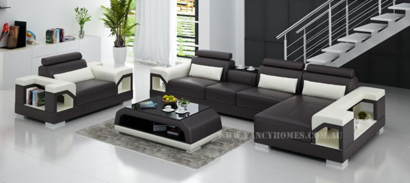 Fancy Homes Vera-E chaise leather sofa in brown and white leather