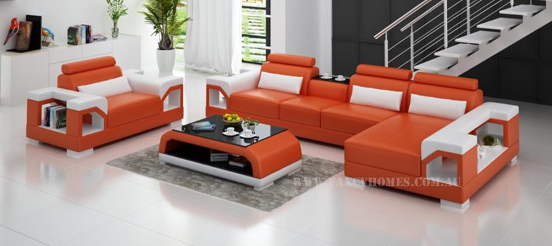 Fancy Homes Vera-E chaise leather sofa in orange and white leather