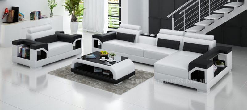 Fancy Homes Vera-E chaise leather sofa in white and black leather