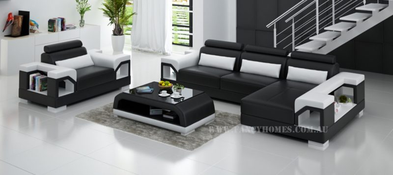 Fancy Homes Vera-F chaise leather sofa in black and white leather