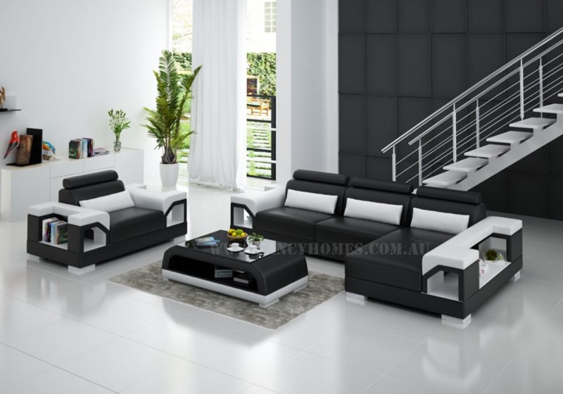 Fancy Homes Vera-F chaise leather sofa in black and white leather with storage armrests and adjustable headrests