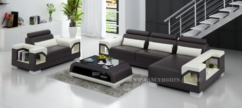 Fancy Homes Vera-F chaise leather sofa in brown and white leather