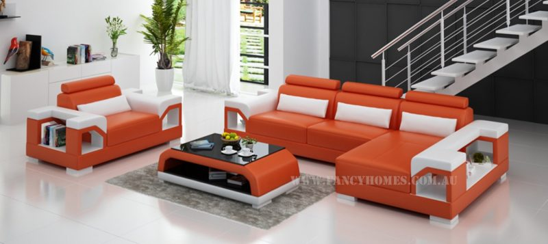 Fancy Homes Vera-F chaise leather sofa in orange and white leather