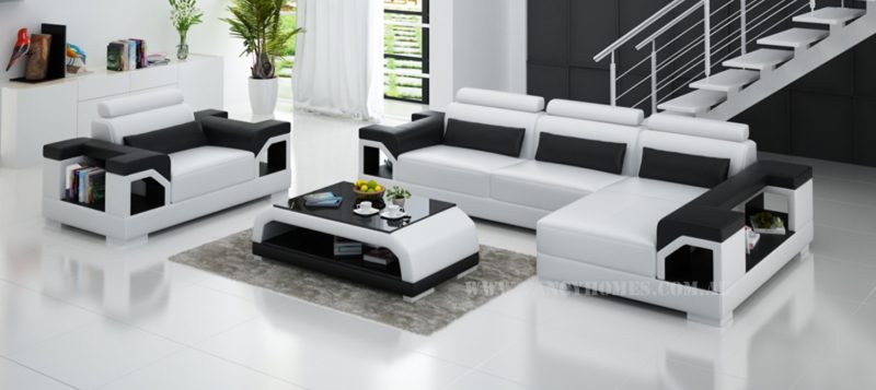 Fancy Homes Vera-F chaise leather sofa in white and black leather