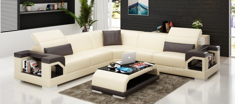Fancy Homes Viva-B corner leather sofa in beige and brown leather