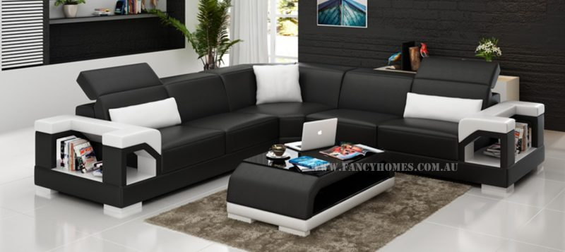 Fancy Homes Viva-B corner leather sofa in black and white leather
