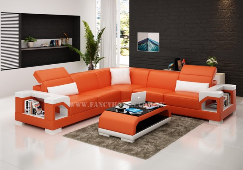 Fancy Homes Viva-B corner leather sofa in orange and white leather featuring storage armrests and adjustable headrests