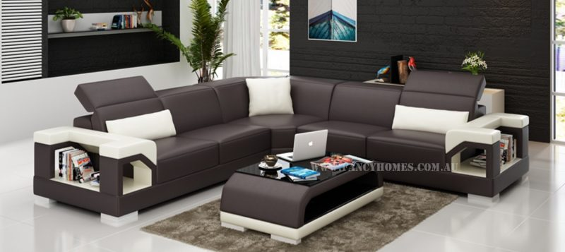 Fancy Homes Viva-B corner leather sofa in brown and white