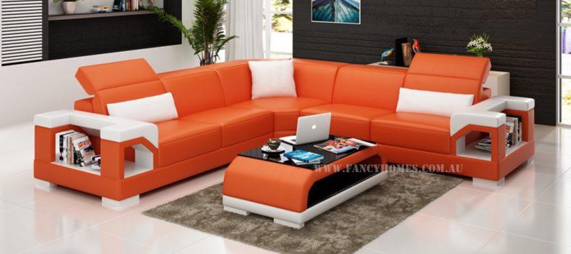 Fancy Homes Viva-B corner leather sofa in orange and white