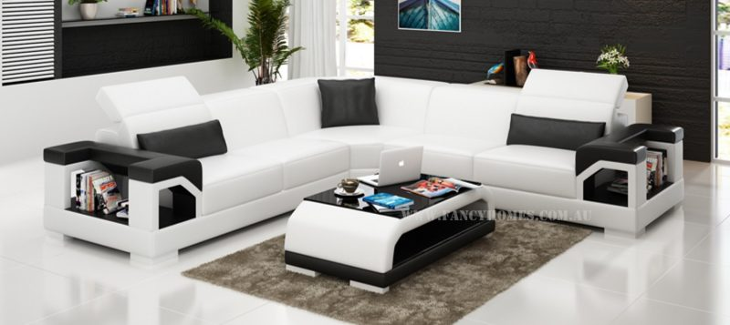 Fancy Homes Viva-B corner leather sofa in white and black leather