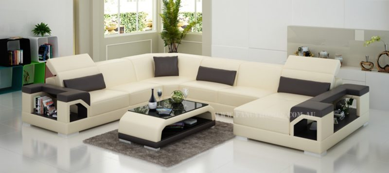Fancy Homes Viva modular leather sofa in beige and brown leather