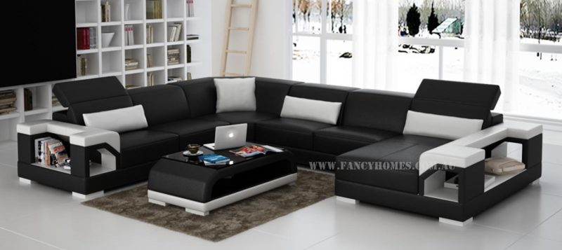 Fancy Homes Viva modular leather sofa in black and white leather