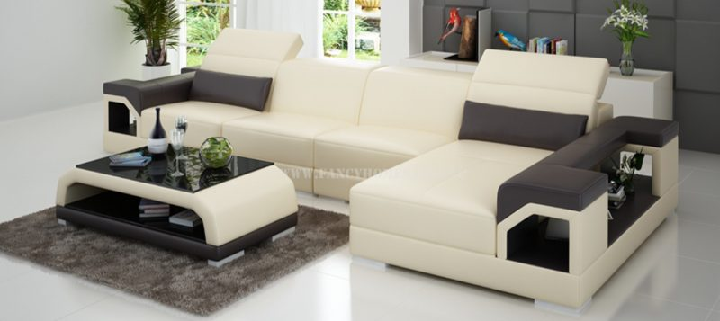 Fancy Homes Viva-C chaise leather sofa in beige and brown leather
