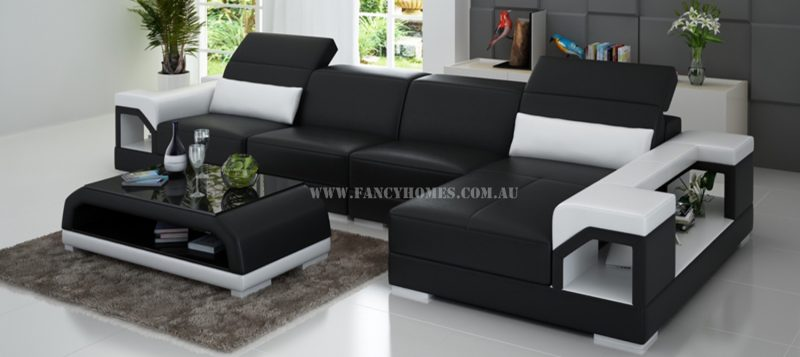 Fancy Homes Viva-C chaise leather sofa in black and white leather