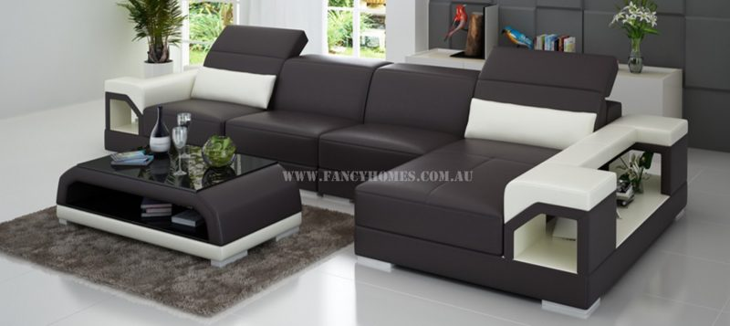 Fancy Homes Viva-C chaise leather sofa in brown and white leather