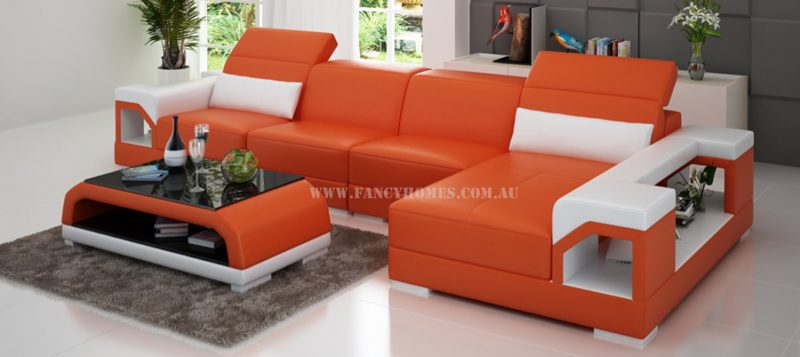 Fancy Homes Viva-C chaise leather sofa in orange and white leather