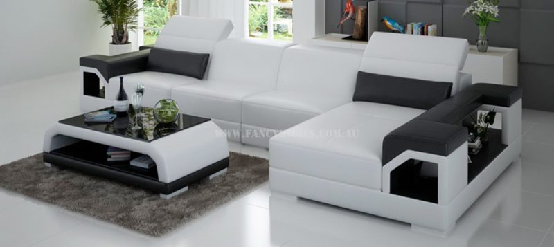 Fancy Homes Viva-C chaise leather sofa in white and black leather