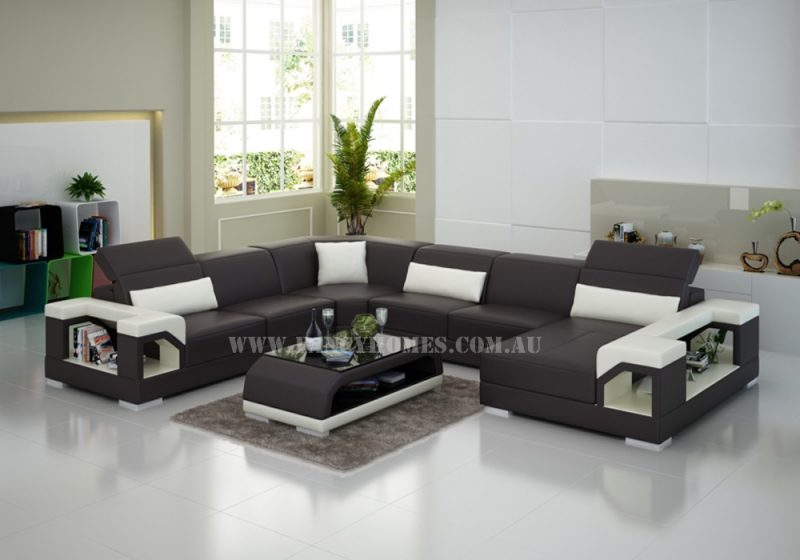 Fancy Homes Viva modular leather sofa in brown and white leather featured with easy-adjustable headrests and storage arms