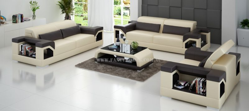 Fancy Homes Viva-d lounges suites leather sofa in beige and brown leather